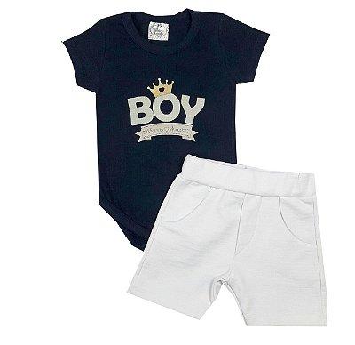 Conjunto Bebê Body Azul Marinho e Shorts Branco
