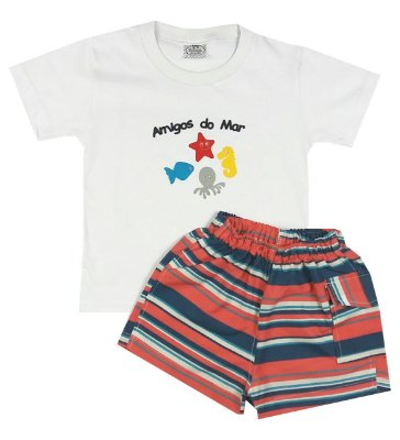 Conjunto Infantil Amigos do Mar Camiseta e Shorts Tactel