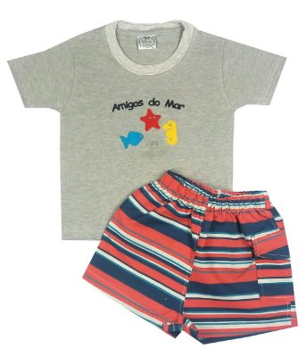 Conjunto Infantil Amigos do Mar Camiseta Mescla e Shorts Tactel