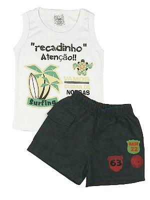 Conjunto Infantil De Verão Menino Regata Branca Com Estampa e Shorts Preto