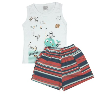 Conjunto Infantil Mar Regata e Shorts Tactel