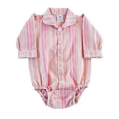 Body Camisa Social Bebê Manga Longa Xadrez Rosa