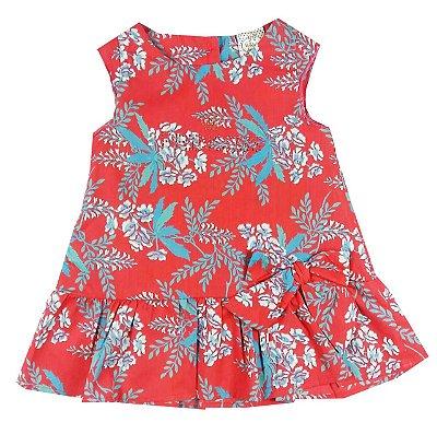Vestido Infantil Tecido Melancia Estampa Floral