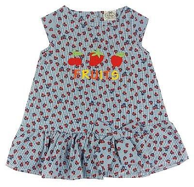 Vestido Infantil Tecido Azul Estampa Amora