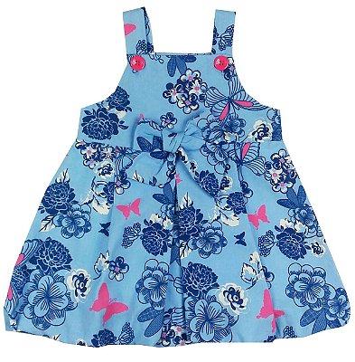 Vestido Infantil Balone Tecido Azul Floral