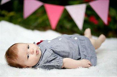 Vestido Infantil Tecido Jeans Floral Duas Peças