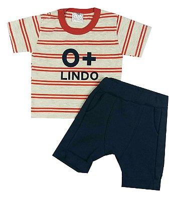 Conjunto Bebê Camiseta e Bermuda Saruel O + Lindo