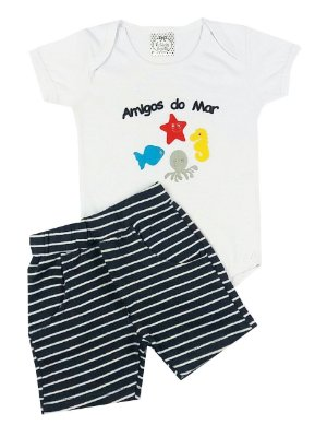 Conjunto Bebê Body Amigos do Mar e Shots Listras