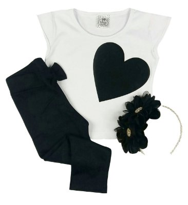 Kit Infantil Blusinha + Calça Legging + Tiara Preta Flor