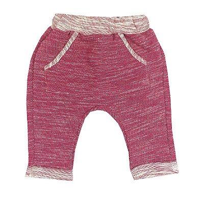 Calça Bebê Saruel Rosa Pink Com Bolso Frontal