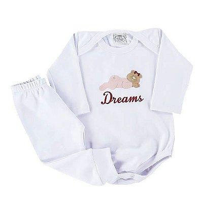 Conjunto Bebê Ribana Pijaminha Dreams Branco