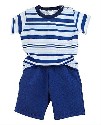 Conjunto Bebê Camiseta Listras e Shorts Azul