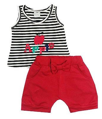 Conjunto Infantil Regata Listrada Preto e Branco Com Aplique e Shorts Saruel Rosa Pink