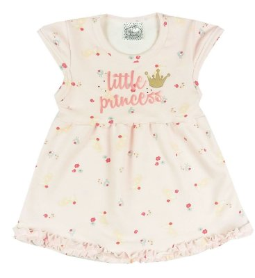 Vestido Bebê de Verão Manga Curta Com Babados Estampado em Rosa Floral