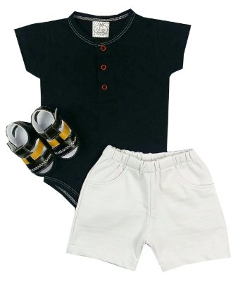 Kit Bebê Body Polo + Shorts + Sandália