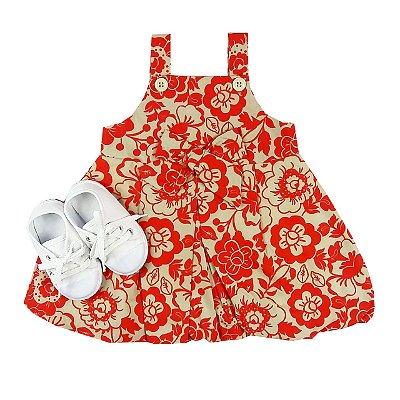 Kit Vestido Infantil Balone Tecido Vermelho Floral + Tênis Branco