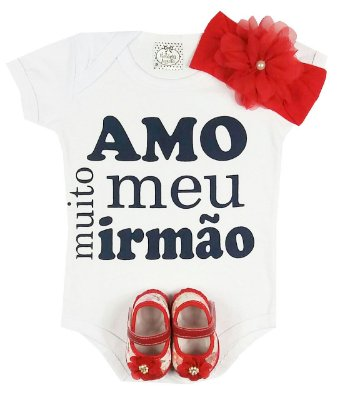 Kit Bebê Body Amo Meu Irmão + Sapatinho + Faixa Vermelha