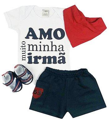 Kit Bebê Body Irmã +Shorts + Sandalia + Bandana