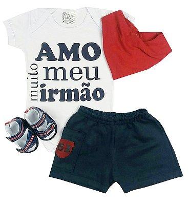 Kit Bebê Body Irmão +Shorts + Sandalia + Bandana