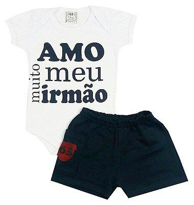 Conjunto Bebê Body Amo Meu Irmão e Shorts