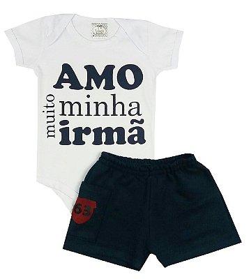 Conjunto Bebê Body Amo Minha Irmã e Shorts Marinho