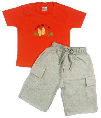 Conjunto Infantil De Verão Masculino Camiseta Manga Curta Laranja e Bermuda Cinza Mescla