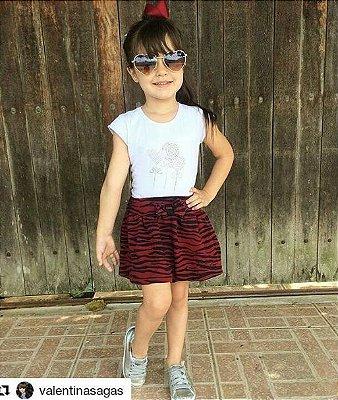 Conjunto Infantil de Verão Saia Balone Estampada Zebra e Body Manga Curta Branco