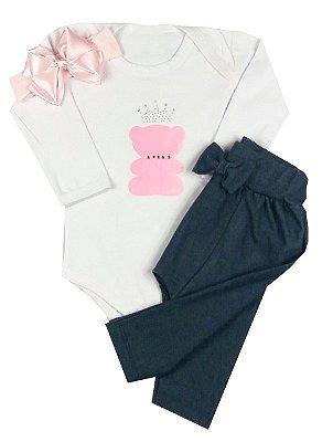 Kit Bebê Body + Calça Jeans Saruel + Faixa