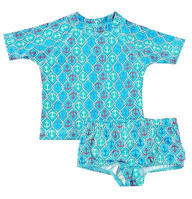 Conjunto Praia Bebê Camiseta com Shorts Ancora