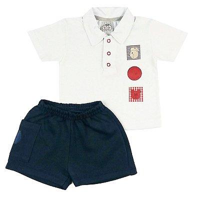Conjunto Bebê Camisa Polo com shorts