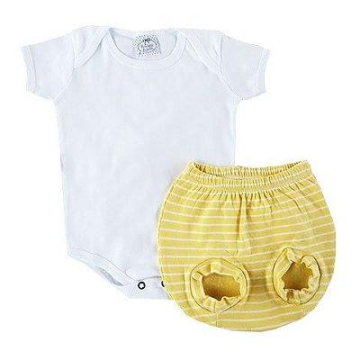 Conjunto Bebê Body com Tapa Fralda Amarelo