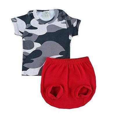 Conjunto Bebê Camiseta Camuflado com Tapa Fralda Vermelho