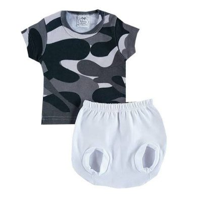 Conjunto Bebê Camiseta Camuflado com Tapa Fralda Branco