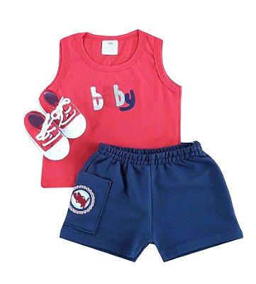 Conjunto Bebê Regata e  Shorts Azul