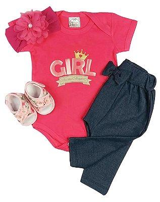 Kit Bebê Conjunto Body e Calça Saruel Jeans + Faixa Meia Pink + Sandália Floral