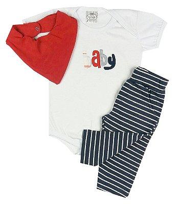 Conjunto Bebê Body Baby e Calça Listras com Babador Bandana Vermelha