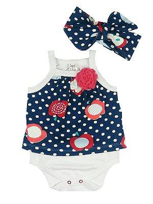 Body Bebê em Cotton Sobreposto Estampado com Turbante