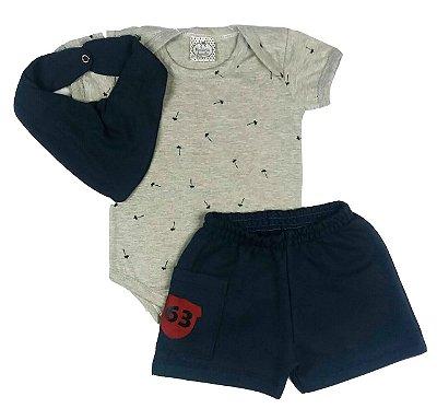 Conjunto Bebê Body Mescla com shorts e Bandana Babador Azul Marinho