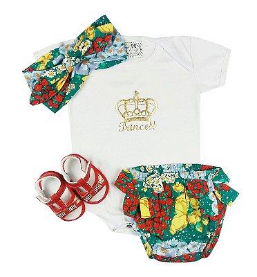 Conjunto Bebê Body Branco com Calcinha Floral e Turbante mais Sandália