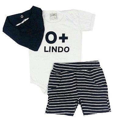 Conjunto Bebê Body Branco O + Lindo e Shots Listrado Com Bandana Babador Azul Marinho