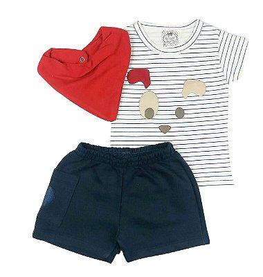 Conjunto Bebê Camiseta Listras e Shorts Azul Marinho