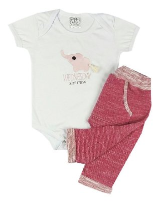 Conjunto Bebê De Verão Menina Body Manga Curta Branco Com Calça Saruel Pink