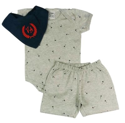 Pijama Bebê Body com Shorts + Babador Bandana Azul