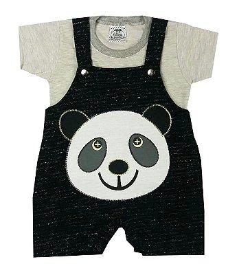 Jardineira Bebê Panda Preta com Camiseta Mescla