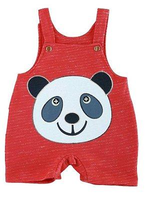 Jardineira Bebê de Verão Panda Vermelha