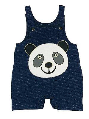 Jardineira Bebê de Verão Panda Azul Marinho