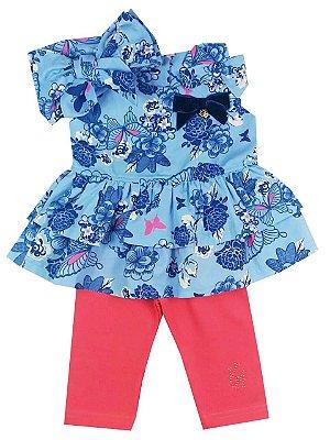 Conjunto Infantil Bata Floral com Calça Ciclista + Turbante