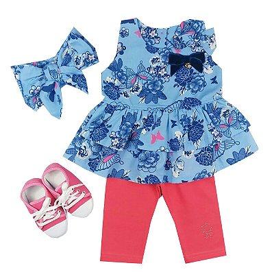 Kit Conjunto Infantil Bata com Calça Ciclista + Turbante + Tênis Pink