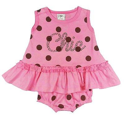 Vestido Bebê Rosa com Poá Marrom com Calcinha