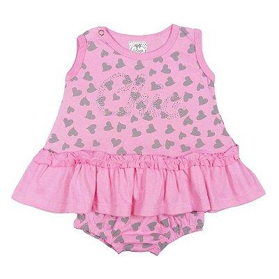 Vestido Infantil Rosa com Coração e Calcinha